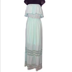 NWOT Light mint strapless maxi dress